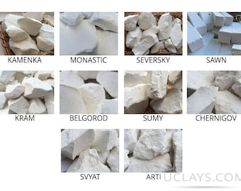 Set of Samples edible natural Chalk chunks for eating, 10 species (Total 1 lb / 450 g) + Free Samples of clay