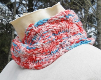 hand knit cozy wide pink and blue mobius cowl