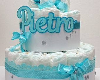 Diaper cake with NAME or phrase for the birth, baptism, baby-shower gift and typically