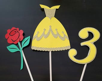 Set of 3-Centerpieces Princess Party Inspired by Beauty and the Beast