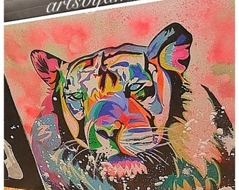 Colorful tiger painting