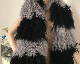 Amazing Versatile shawl collar Mongolian yetti fur scarf wrap other colours available