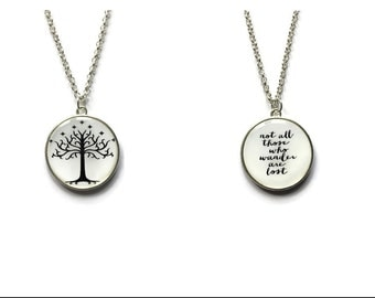 Lord of the Rings pendant-Double sided, Lord of the Rings necklace, White Tree of Gondor pendant, Not All Those Who Wander Are Lost pendant