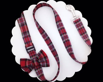 Red Plaid Bow or Bare Dog Leash