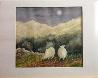 Moonglow Sheep Original Watercolor Painting in 11x14 inch Mat