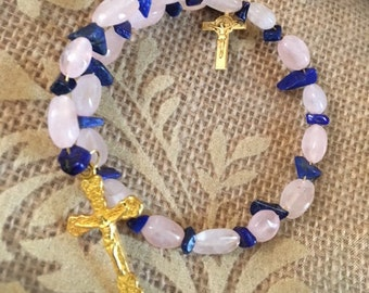 USA FREE SHIPPING!! Faith/Cross-Rose Quartz and Blue Lapis Chip Spacer Bracelet