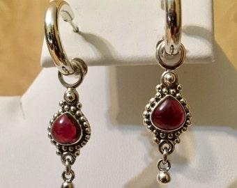 USA FREE SHIPPING-Garnet Sterling Silver Earrings