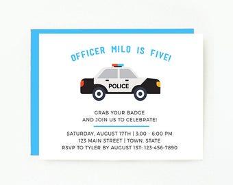 Police Birthday Party Invitation, Digital Design, Police Birthday, Officer Party, Police car, Minimalist Cute Invitation, Printable or Print