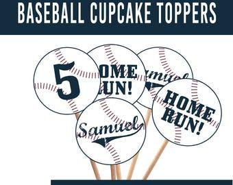 PRINTABLE Baseball Birthday Party Cupcake Toppers, Vintage Baseball Birthday Party, Retro Baseball, Baseball Print, Home Run Cupcake Topper