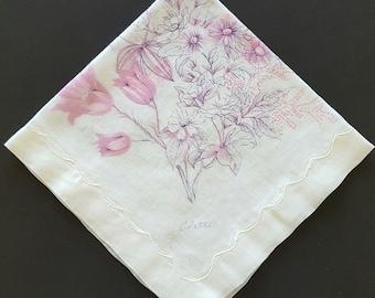 Vintage Colette Linen Handkerchief Pink and Purple Floral Hankie