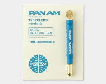 Pan Am x Traveler's Notebook Brass Ball point Pen Blue-edition Color 36818006 Midori Gift Free shipping Best Buy Made in Japan Limited Rare
