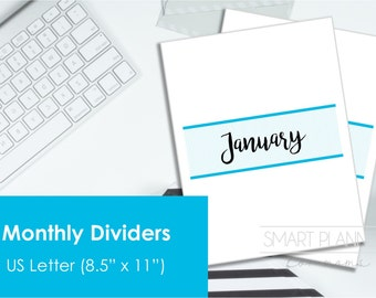 "Monthly Divider Pages printable file. US Letter Size (8.5""x11"") , Portrait. Instant download. PDF format. High resolution 300 dpi."
