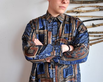 Hipster shirt 1990s 1980s 1970s vintage mens shirt with funny print