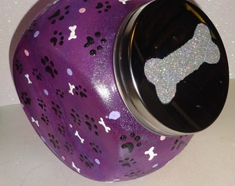 Purple Frosted Paw Print Treat Jar