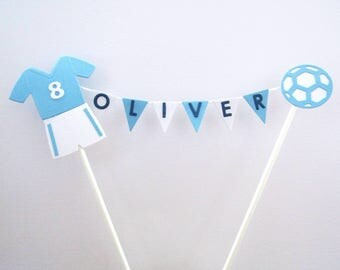 Personalised Cake Topper - Handmade - Football Design.   Any Name and Colour.