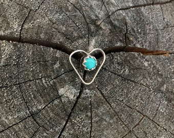 Vintage Single Handmade Zuni Heart Earring of Silver and Turquoise Post for Pierced Ears