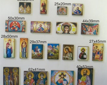 19 X CHRISTIAN ICONS. Various sizes. 19 X Christian Icons