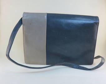 Vintage 2 Tone Color Block Grey Snap Front Purse 80s Crossbody Bag