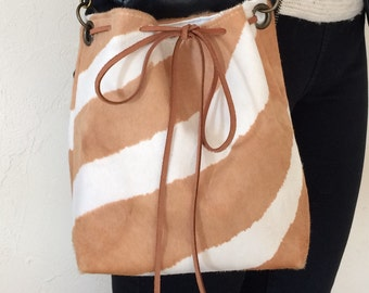 """""""NinieCousette mini"""" bag in beige and white Zebra-haired version"""