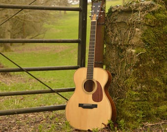 Acoustic Steel String Guitar, Handmade in the UK, Upcycled Recycled Mahogany, Natural Look, & Professional Tone