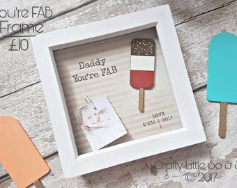 Fathers day You're FAB frame. daddy, dad, Step Dad, gifts for him, Daddy daughter,
