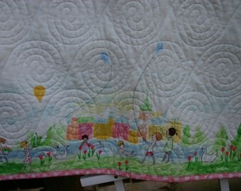 Girl nursery bedding, vintage nursery blanket , pink baby quilt, girl baby blanket, girl toddler quilt, retro baby nursery bedding quilt