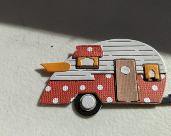 Pair of Teardrop Trailer Magnets with Orange and White Polka Dots