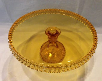 LE Smith Amber hobnail cake stand