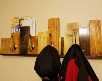 Reclaimed Pallet Wall Coat Rack - Upcycled wood wall art with wall hooks and shelf
