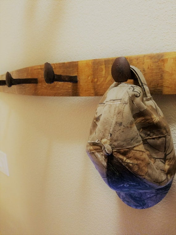 Railroad Spike Wall Coat Rack - Used Wine Barrel Stave Wood and Railroad Tie Nails