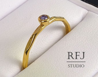 Lab Amethyst Faceted Gold  Ring, February Birthstone Yellow Gold Plated 2mm Purple CZ Ring, Gold Plated Cubic Zirconia Stacking Ring