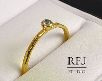Faceted Lab Aquamarine Gold Ring, 24K Yellow Gold Plated March Birthstone 2mm Ligth Blue CZ Ring Gold  Stackable Aquamarine Ring For Her