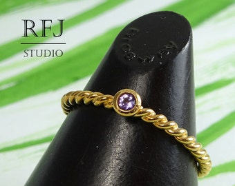 Natural Amethyst Twist Rose Gold Plated Ring, February Birthstone 14K Rose Gold  2mm Round Cut Purple Amethyst Ring Rose Gold Rope Ring