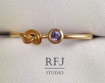 Natural Amethyst 14K Rose Gold Plated Knot Ring, February Birthstone Ring Promise Rose Gold Ring 2mm Purple Gemstone Friendship Gold Ring