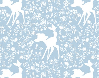 "New Disney Bambi Silhouette in Blue 100% Cotton Fabric by the yard 36""x43"" (CA291)"