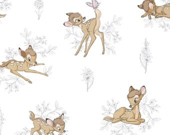 Disney Bambi Fabric: Camelot Disney Bambi and Butterfly Floral Toile Dark Grey 100% Cotton Fabric by the yard (CA301)