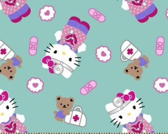 """Hello Kitty Fabric: Hello Kitty First-aid print Turquoise 100% cotton Fabric by the yard 36""""x43""""  (SC20)"""