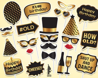 Birthday Printable Photo Booth Props, Birthday photo booth props, printable PDF, Black and gold birthday props,Instant download,digital Only