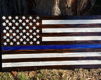Handmade rustic wooden Blue line flag