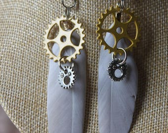 "steampunk with pen and gears ""8"" earrings"