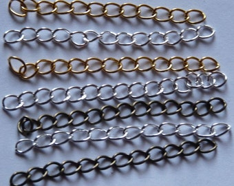 Extension Chain, Extender Chain, Gold Plated Extension Chain, Cord Tail, Silver Plated Chain, Bronze Extender Chain, Jewelry Supplies