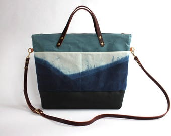 Waxed Canvas and Leather Indigo Hand-dyed Tote - mountain