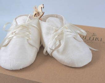 Baby Christening Dupioni Silk Shoes - Baptism Booties  - Baby Gift - Personalised Shoes  - Baptism Shoes - Ivory - White - Dupioni Silk