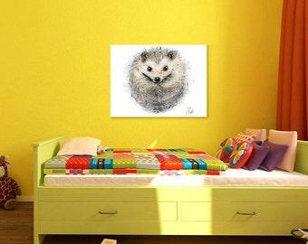Hedgehog print // hedgehog A4 print // hedgehog art // hedgehog gifts // hedgehog painting // cute hedgehog print // pygmy hedgehog print