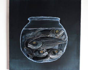 fish canvas painting,fish wall art,bass fishes in bowl,fish bowl acrylic painting,bass fish dark animal activism art animal rights painting