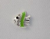 Green and Silver Fish Needleminder / Fish Needleminder / Enamel and Rhinestone Needleminder