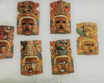 ONE 1 Hand Carved Mayan Masks Warrior Sun Moon  Jaguar Snake Mayan Aztec Wood God Chichen Itza Decor