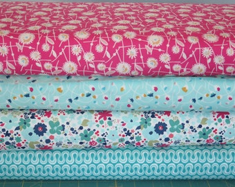 4 fat quarters Art Gallery Fabric, Fusion Collection, Pink and Aqua colors, 100% quilt shop cotton, home decor fabric, fashion fabric