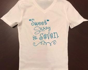 Sweet, Sassy & Seven Girl's Shirt