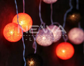 20 Halloween Lights Orange Black Gray Cotton Ball Fairy Lights Indoor String Lights Gifts Bedroom Patio Party Wall Hanging Home Decor
